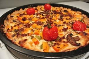Kürbis-Quiche mit Hackfleisch und Feta